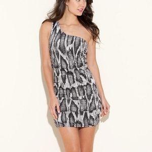 GUESS Paula Snake Print One Shoulder Dress M